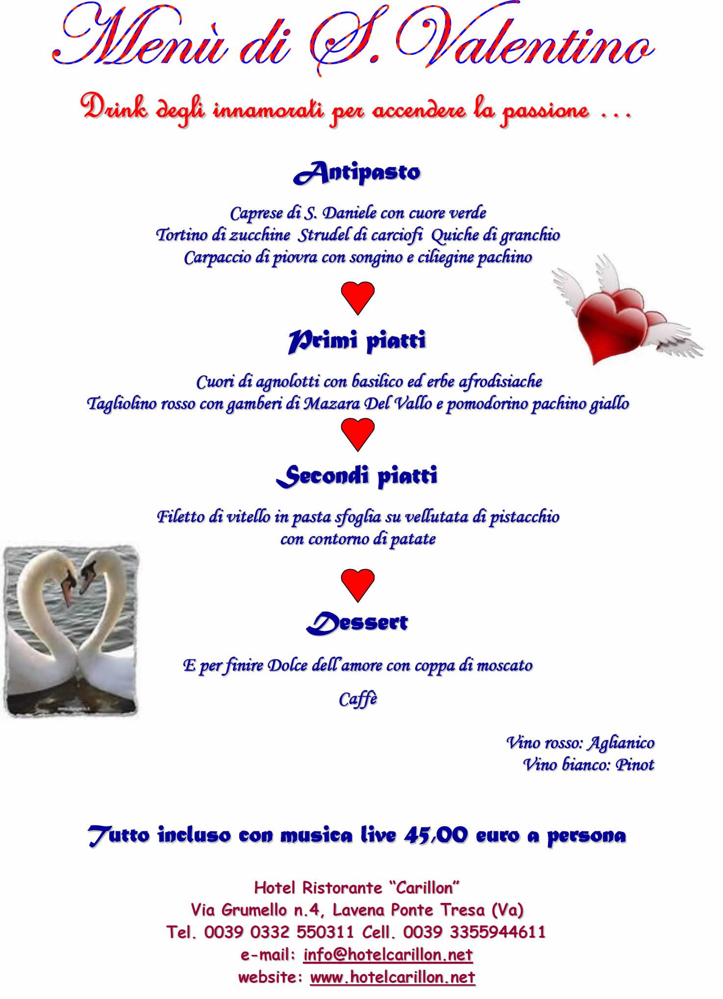 14 Febbraio menù di San Valentino