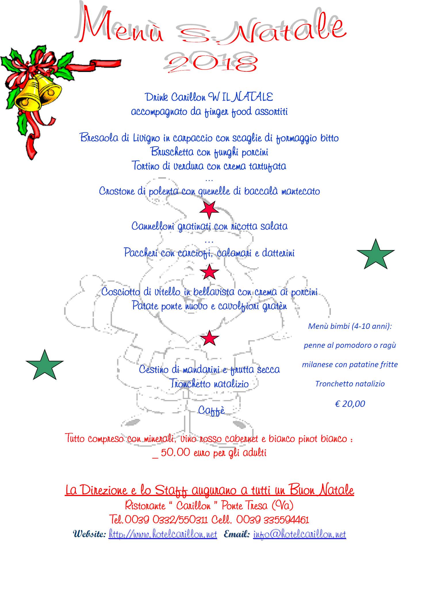 menù Natale Carillon