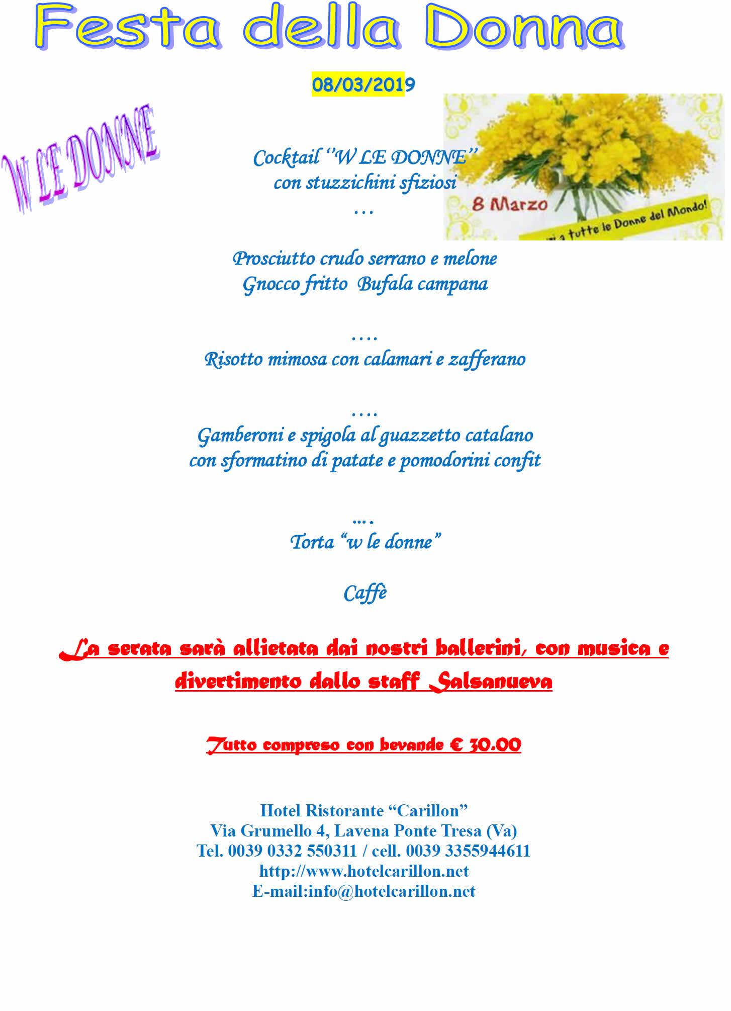 menu Festa della Donna 2019