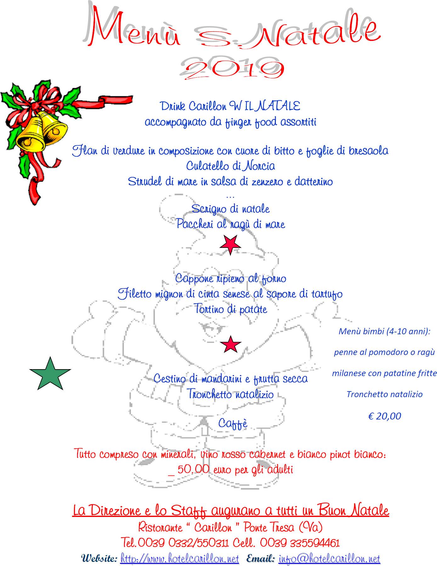 Menu Natale Carillon 2019